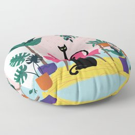 Sleek Black Cats Rule In This Urban Jungle Floor Pillow