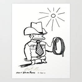 Cowboy Ape with Giant Tie Art Print