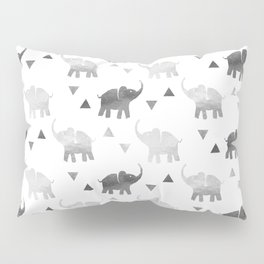 Elephants and Triangles - Silver Pillow Sham