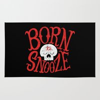 onesie Area & Throw Rugs featuring Born to Snooze by Chris Piascik