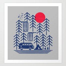 Camping Days / Van nature minimal birds sun Art Print