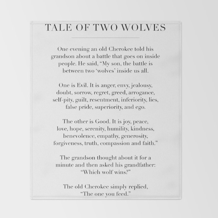 The Tale of Two Wolves Throw Blanket