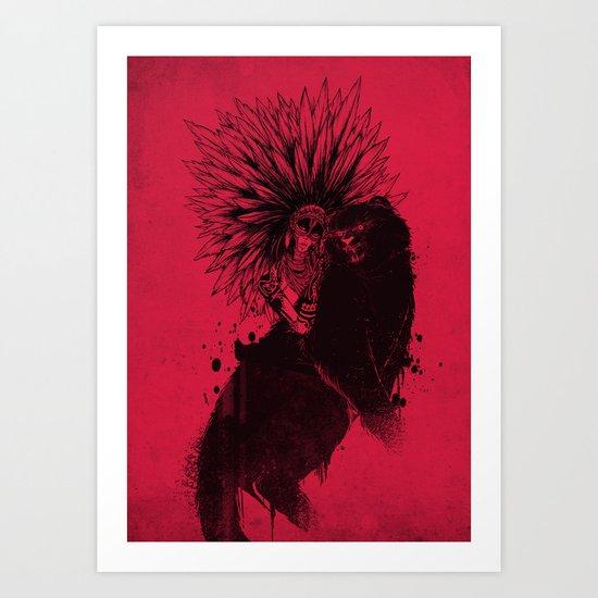 Her Black Cat Art Print