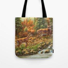 Whitetil Deer Doe & Buck by Waterfall Tote Bag