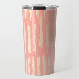Vertical Dash Tahitian Gold on Coral Pink Stripes Travel Mug