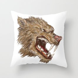 Head with sharp teeth Throw Pillow