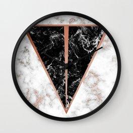 Black marble triangle shape Wall Clock