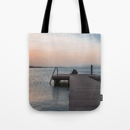 Watching the Sunset on the dock Tote Bag