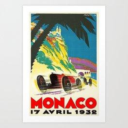 Vintage 1932 Monaco Grand Prix Racing Advertising Poster Art Print
