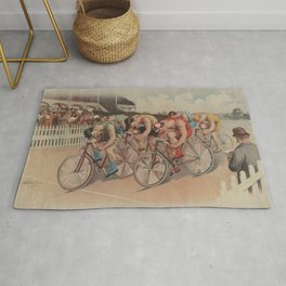 Vintage Cycling Race Illustration (1895) Rug