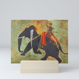 Prince Amar Singh riding an Elephant - Vintage Indian Art Print Mini Art Print