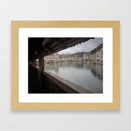 a bridge with a view Framed Art Print