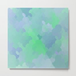 Shades of Blue and Green Octagon Abstract Metal Print