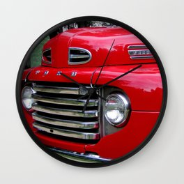 the old red ford truck Wall Clock
