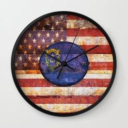 Usa and Nevada flags. Wall Clock
