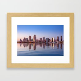 Gorgeous San Diego skyline reflected in water Framed Art Print
