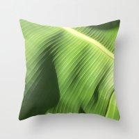 banana leaf Throw Pillows featuring Banana Leaf by Glenn Designs
