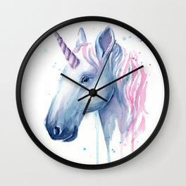Blue Pink Unicorn Wall Clock