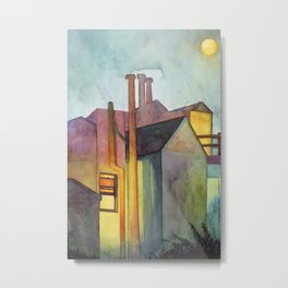 Rear Window Watercolor  Night Lights and Fog Print Metal Print