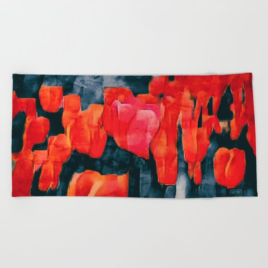 Tulip Field at Night Beach Towel