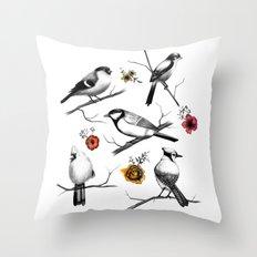 BIRDS & FLOWERS Throw Pillow