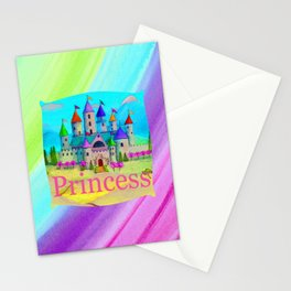 Colorful Princess Castle Stationery Cards