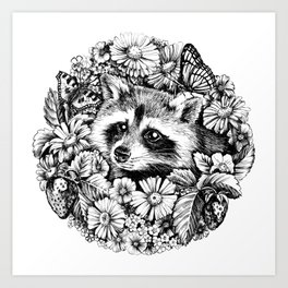 "Summer raccoon. From the series ""Seasons"" Art Print"