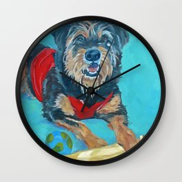 Rescue Mutt Dog Portrait Wall Clock