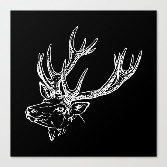 Deer Black White Canvas Print