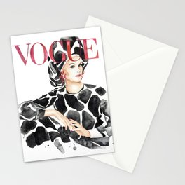 Fashion magazine cover cow animal print Stationery Cards