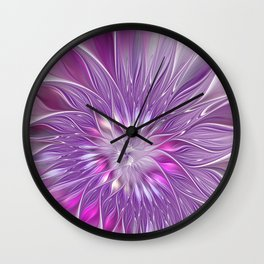 Pink Flower Passion, Abstract Fractal Art Wall Clock