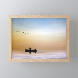 Fisherman and a Flock of Birds Framed Mini Art Print