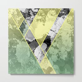 Contemporary Sunny Geometric Floral Pattern Metal Print