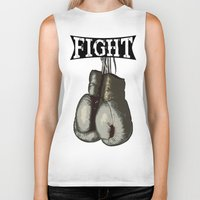 boxing Biker Tanks featuring Boxing Gloves - Fight Vintage Boxing by 319media