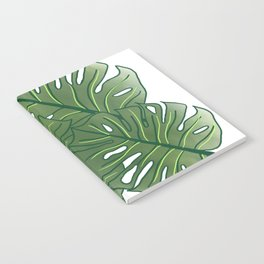 Large Monstera Leaf in Moss Green Notebook