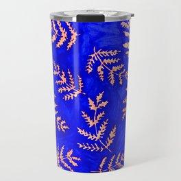 Royal Blue and Peach Fern Print Travel Mug