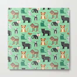 Amazon Jungle Animals Pattern Metal Print