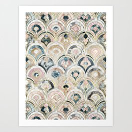 Art Deco Marble Tiles in Soft Pastels Kunstdrucke
