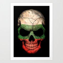 Dark Skull with Flag of Bulgaria Art Print