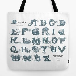 Dracoserific, a font full of Dragons (light) Tote Bag
