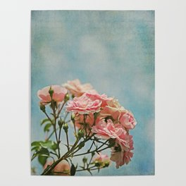 Vintage Inspired Pink Roses in Pastel Blue Sky with French Script Poster