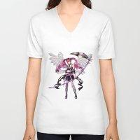 lolita V-neck T-shirts featuring Dark lolita by clayscence