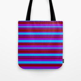 Deep Sky Blue, Purple, Dark Red, and Dark Violet Lines Pattern Tote Bag