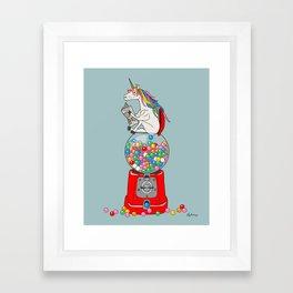 Unicorn Gumball Poop Framed Art Print