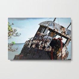 rustic boat Metal Print