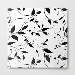 FLOWERY VINES | white black Metal Print