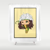 rogue Shower Curtains featuring Chibi Rogue by artwaste