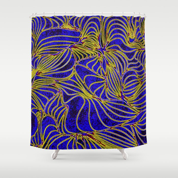 Curves In Yellow Royal Blue Shower Curtain By Nancyjcreates