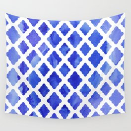 Watercolor Diamonds in Cobalt Blue Wall Tapestry