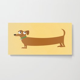 Joyful Doxie - Brown Metal Print